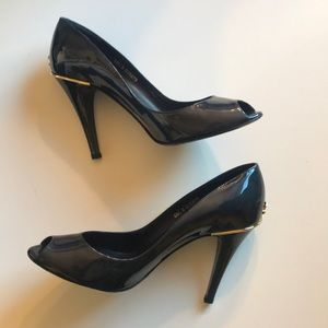 Chanel patent leather peep toe pumps